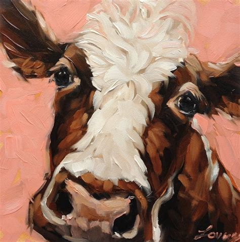 fashion animal framed painting with acrylic glass ready to hang wall art prints with wooden cow painting 6x6 inch original oil painting of a cow cow