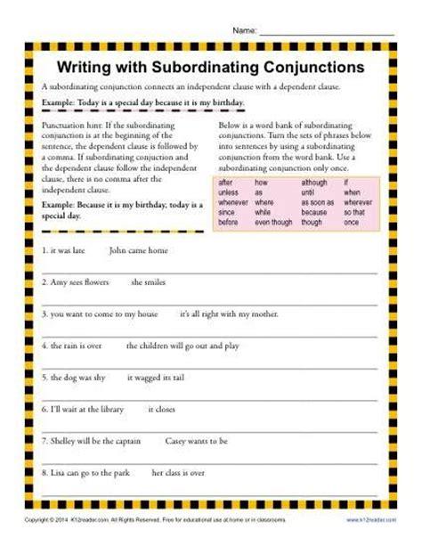 printable worksheets subordinating conjunctions 15 best grammar conjunctions images on pinterest