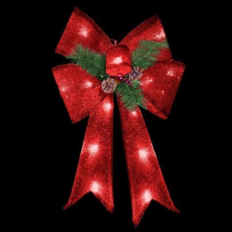 28 inch red bow with battery operated led lights case of