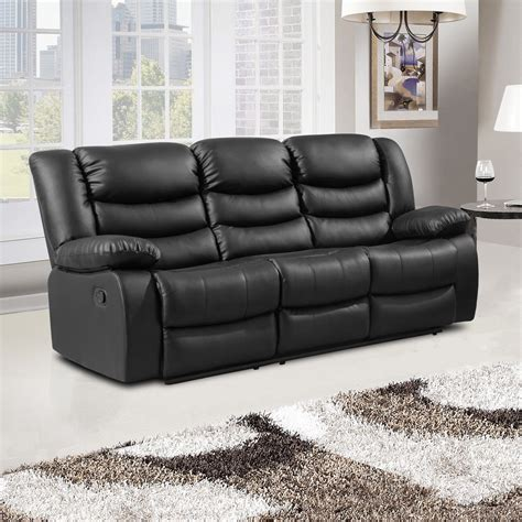 belfast black recliner sofa collection in bonded leather