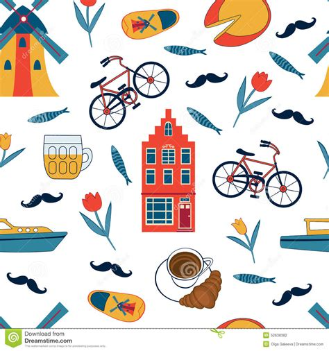 Amsterdam Fashion Icons And by Colorful Amsterdam Icons Seamless Pattern Stock Vector