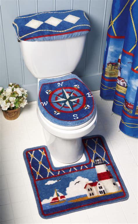 Nautical bathroom decor lighthouse seaside 3 pc toilet commode set ebay