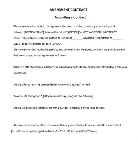 Letter Of Agreement Amendment 4 contract amendment templates free word pdf documents free premium templates