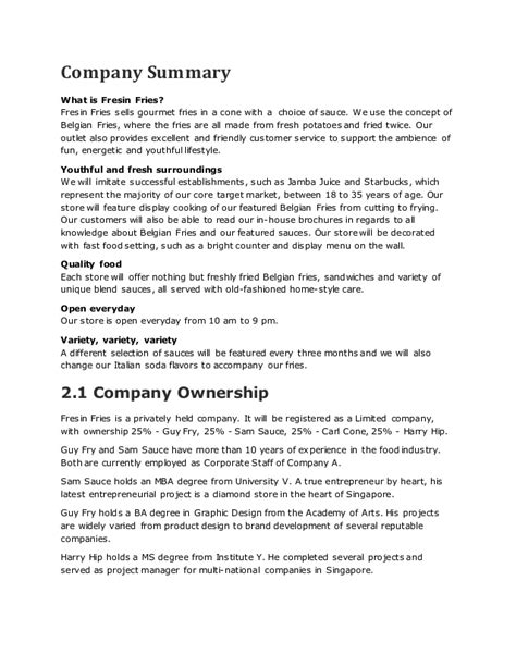 food business plan template fast food restaurant business plan