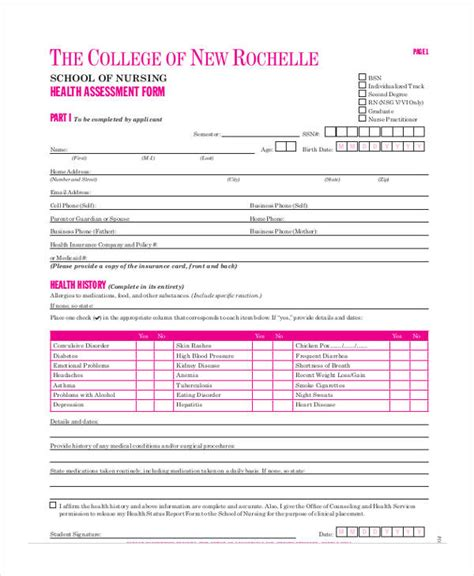 nursing assessment forms 45 sle health assessment form