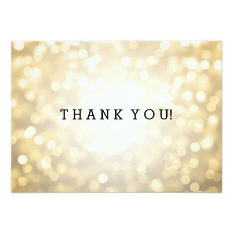Wedding Thank You Note Gold Glitter Lights Card   Zazzle
