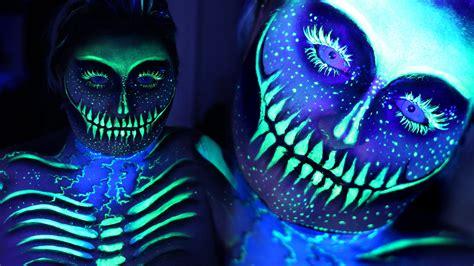 electric uv blacklight skeleton sfx makeup tutorial