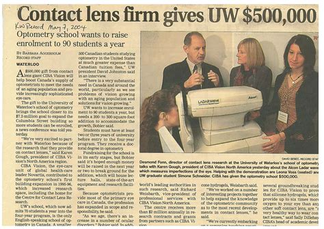 Kitchener Record by In The News Centre For Contact Lens Research
