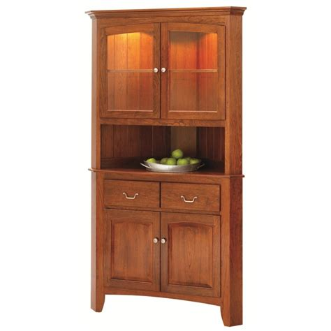 Manchester Corner Hutch   Solid Hardwood Furniture   Locally Handcrafted Dining Buffet   Country