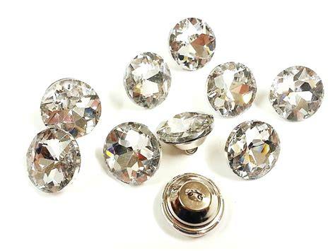 upholstery buttons uk 10pcs 20mm clear faceted cut glass crystal diamante
