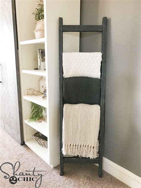 DIY $7 Rustic Blanket Ladder   Shanty 2 Chic