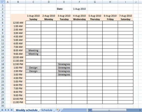 week date sheet populate cells dynamically in a weekly schedule