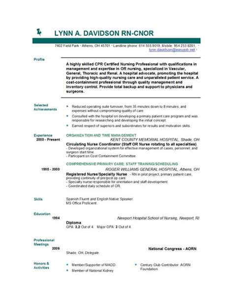 resume format for nursing free nursing resume templates easyjob easyjob