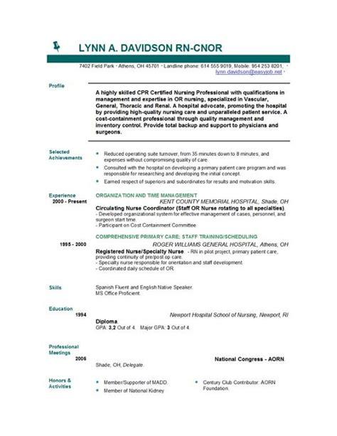 Rn Resume Sample – Registered nursing resume template
