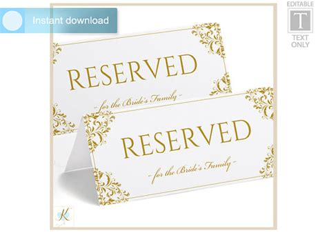 reserved sign template word wedding reserved sign template by karmakweddings