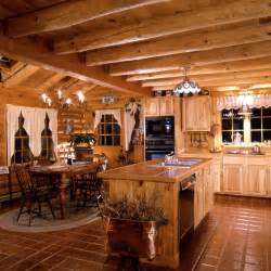 Cabin Style Kitchen Cabinets Log Home Kitchens 171 Real Log Style