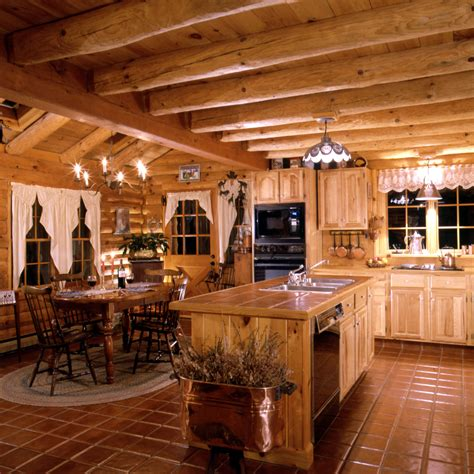 Log Home Kitchen Pictures by Log Home Kitchens 171 Real Log Style