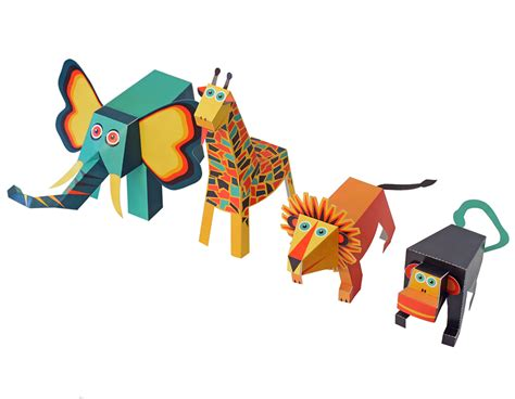 Paper Toys - jungle animals paper toys pukaca