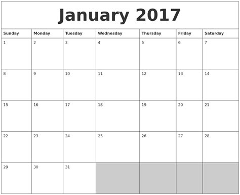 blank printable calendar template 2017 january 2017 blank printable calendar