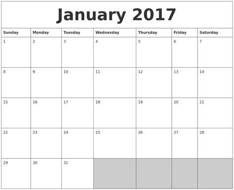 Printable Calendar Blank 2017 | january 2017 blank printable calendar