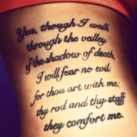 my tattoo psalm 23 4 ink junky pinterest