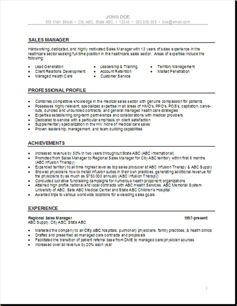 Resume Template Healthcare by Health Care Resume Templates Sales Manager Health Care