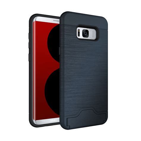 Sung Galaxy S8 Plus Phone Card Holder Kickstand Slim Phone Cover id credit card holder shockproof kickstand for