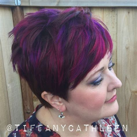 highlighting a pixie haircut pixie cut with magenta and violet balayage highlights