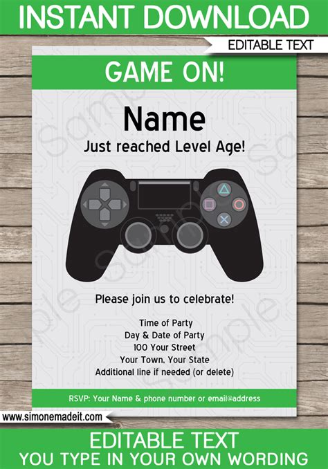Playstation Party Invitations Template Green Party Invitation Templates Invitation Themed Invitations Free Templates