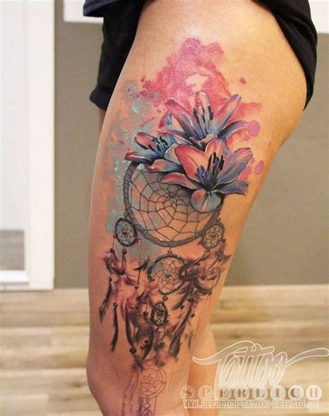 dreamcatcher tattoo with lily watercolor tattoo with lilies and dream catcher tattoos