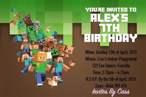 minecraft birthday invitation card template minecraft birthday invitations invitations card review