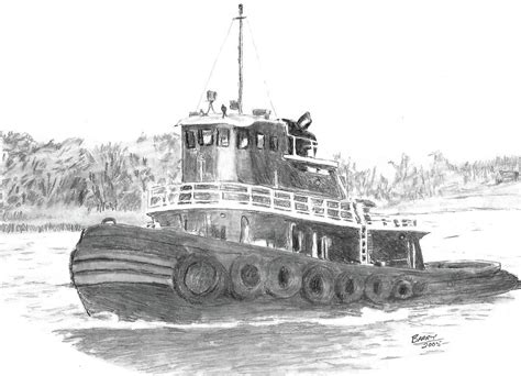 boat in river drawing workhorse of the river drawing by barry jones