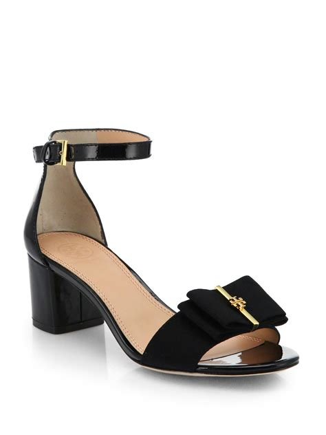 burch black sandals burch trudy patent leather bow sandals in black lyst