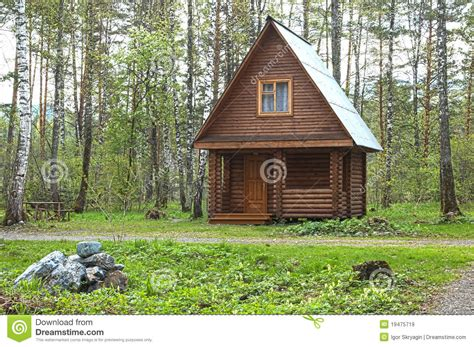 building a small home wooden small house in a wood royalty free stock images