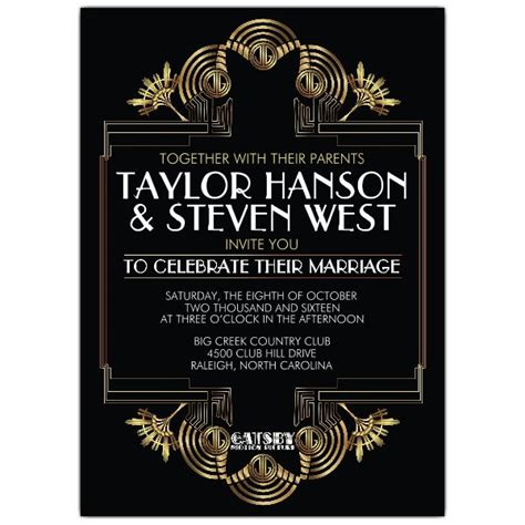 Wedding Invitations Gatsby by Gatsby Glitzy Wedding Invitations