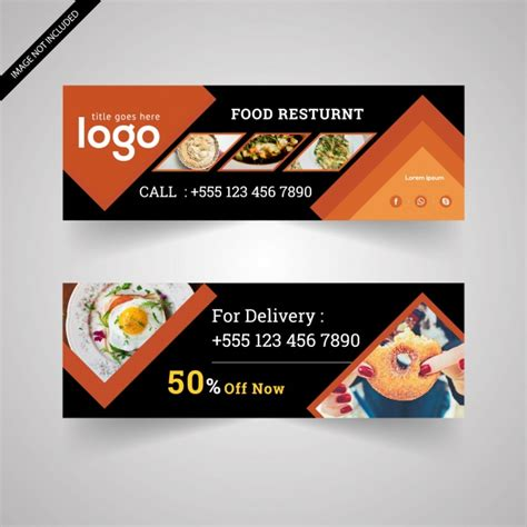Food Banner With Black And Orange Design Vector Free Download Food Banner Design Template Free