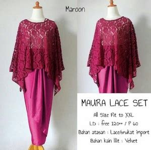 Setelan Maroonyta Brukat Maroon model setelan baju kebaya brukat lace modern terbaru dan rok lilit panjang
