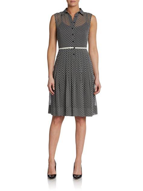 calvin klein sheer sleeveless belted dress in black black