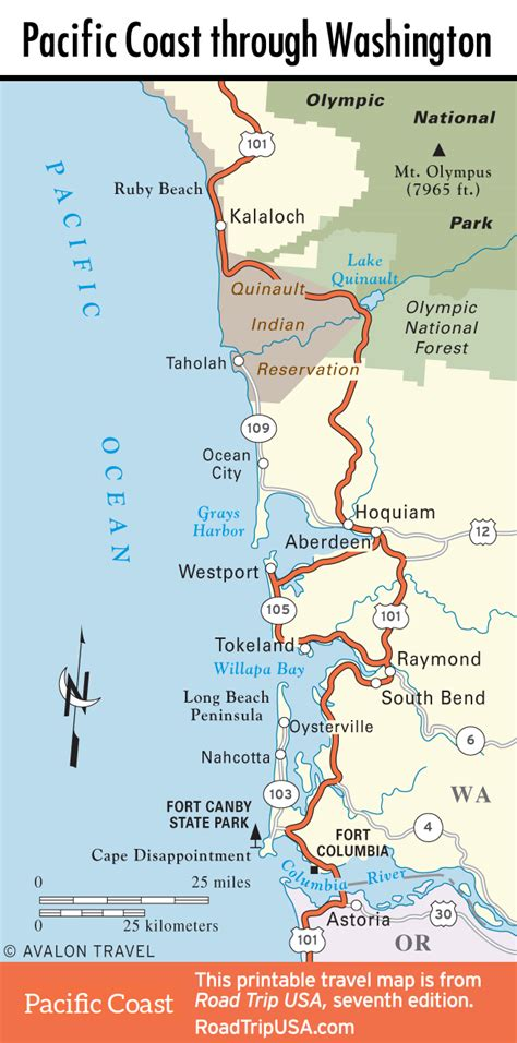 map of oregon and washington coast washington road trip usa