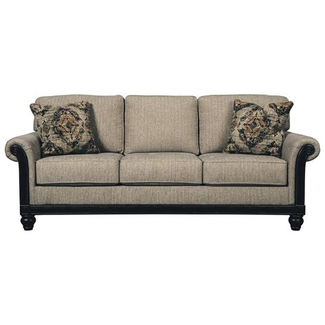 transitional sofa transitional sofa with rolled arms showood trim in