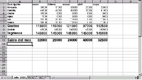 ejemplo de un cuadro de gastos personales control de ingresos y gastos