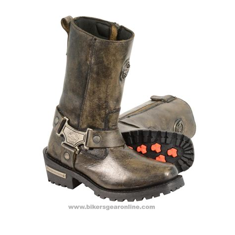 buy womens motorcycle boots ladies motorcycle genuine leather distressed brown inch