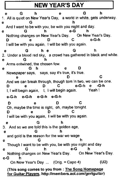 new year songs lyrics guitar chords rock hits lyrics chords for guitar players