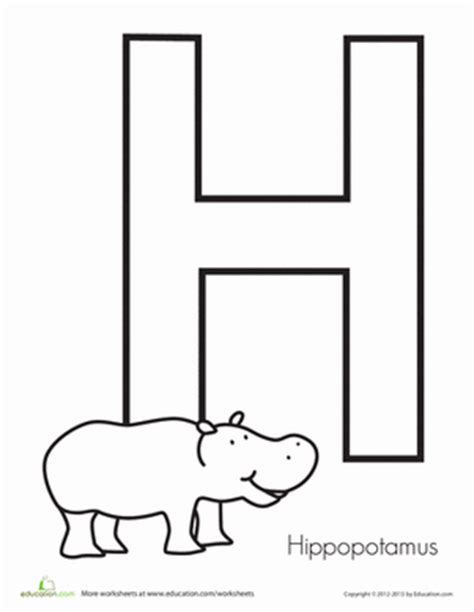 letter h coloring pages preschool h is for hippopotamus coloring worksheets worksheets