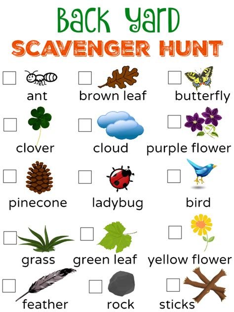 List Of Backyard by Free To Be Outside Back Yard Scavenger Hunt Free
