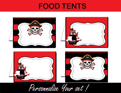 printable pirate name tags pirate boy black red birthday party package instant