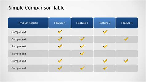 Comparison Ppt Template Simple Comparison Table Powerpoint Template Slidemodel