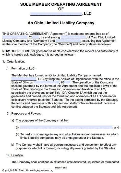 Ohio Single Member Llc Operating Agreement Free Llc Operating Agreements Free Llc Operating Ohio Llc Operating Agreement Template