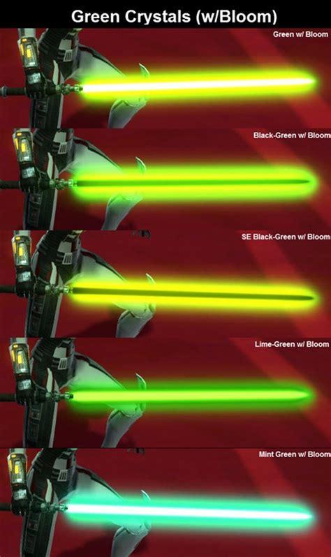 kotor lightsaber colors swtor green color crystals comparison bloom