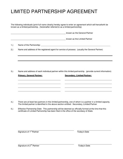partner contract template partnership agreement sle free printable documents